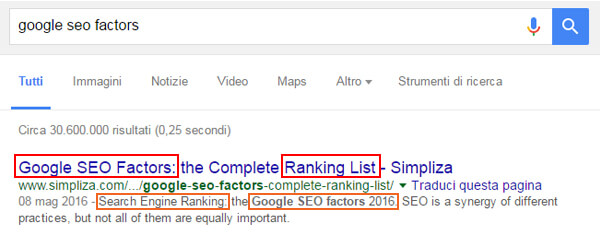 How to write the meta title? Wich is best practice for meta description? Screenshot of first serp position in Google SERP searching for Google SEO factors